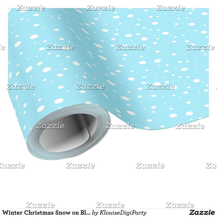 Winter Christmas Snow on Blue Wrapping Paper