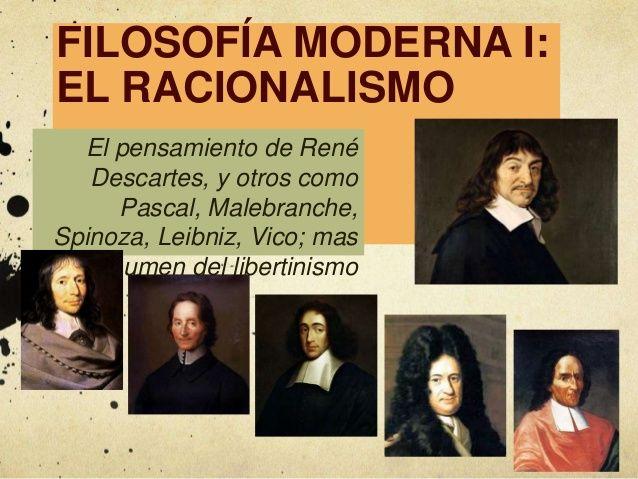 El Racionalismo, René Descartes y otros. Filosofía moderna 1.