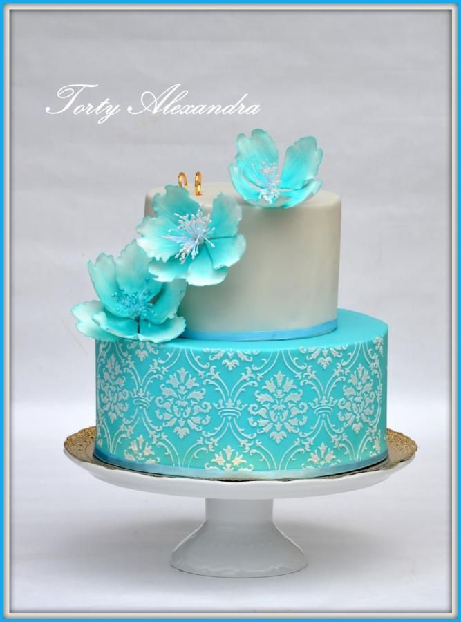 Wedding cake blue by Alexica - http://cakesdecor.com/cakes/284784-wedding-cake-blue