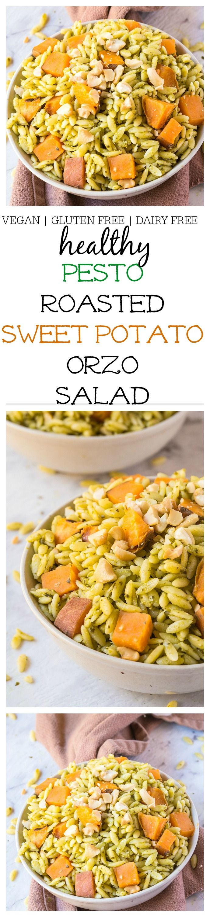 Pesto + Marinated Sweet Potato Orzo Salad- Take your picnics, barbecues and grilling sessions up a notch with this fancy yet super simple side dish! Vegan, Dairy Free and gluten free @thebigmansworld - thebigmansworld.com
