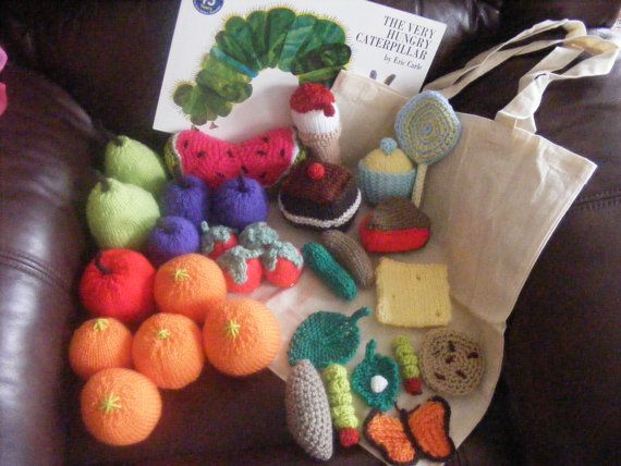 Knitting Pattern For Very Hungry Caterpillar Toy : The Very Hungry Caterpillar - Knitted /Crocheted Food - Book - Bag Crochet ...