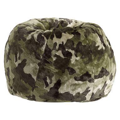 Green Camo Faux Fur Beanbag