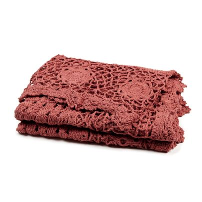 130x180cm Crochet Throw Coral