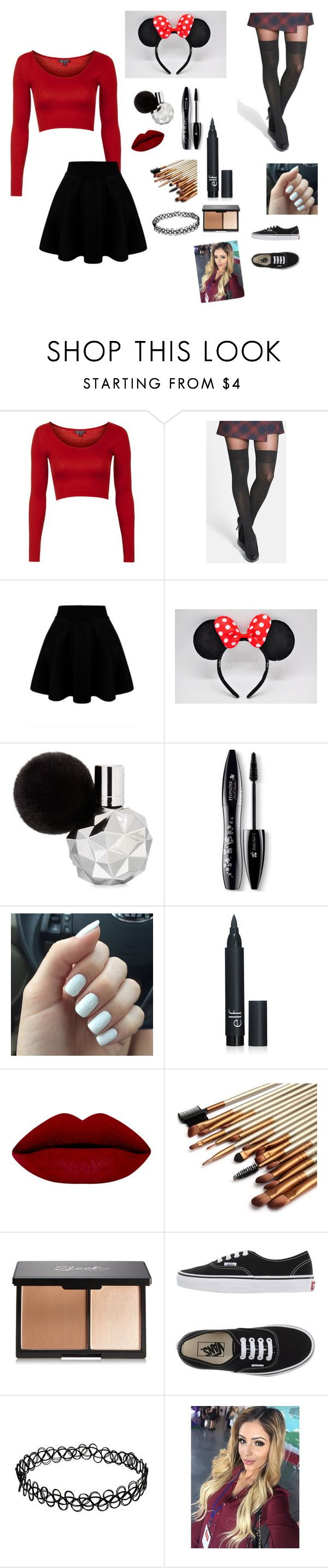 """""""Minnie Mouse costume"""" by zoella36 ❤ liked on Polyvore featuring Topshop, Pretty Polly, Lancôme and Vans"""