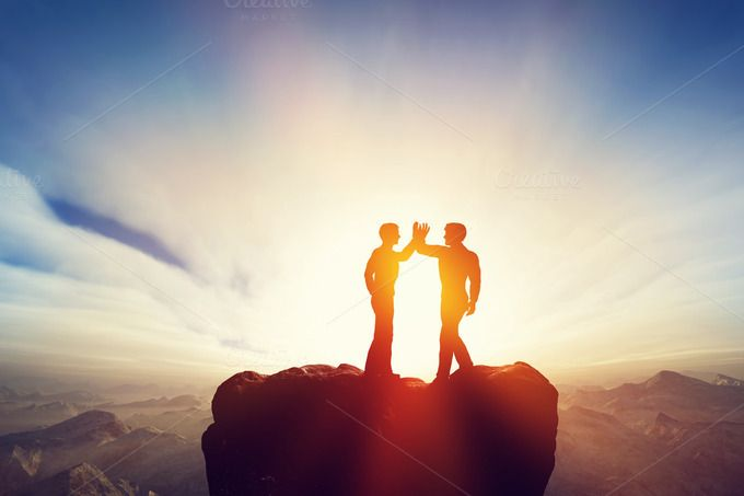 Friends on the top of the mountain by Photocreo Michal Bednarek on Creative Market