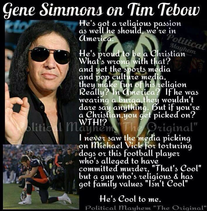 Gene Simmons take on Tim Tebow #timtebow