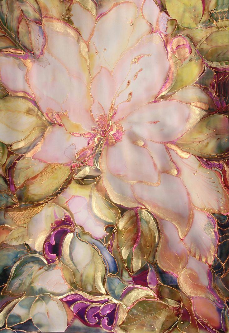Peach Magnolia Silk Tapestry by silkartcreations.net