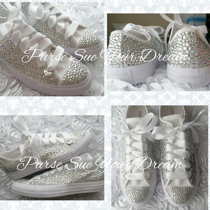 Custom Bridal Converse Wedding Shoes - Swarovski Crystal Wedding Shoes - Rhinestone Converse - Bride Shoes - Swarovski Converse by PurseSueYourDream on Etsy https://www.etsy.com/listing/400461757/custom-bridal-converse-wedding-shoes