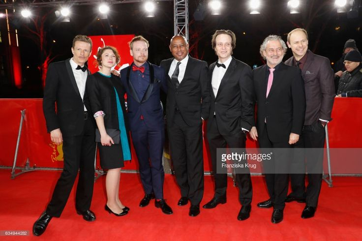 Actor Alexander Scheer, actress Hannah Steele, actor Stefan Konarske, film director and screenwriter Raoul Peck, actor August Diehl, actor Rolf Kanies and a guest attend the 'The Young Karl Marx' (Le jeune Karl Marx) premiere during the 67th Berlinale International Film Festival Berlin at Friedrichstadt-Palast on February 12, 2017 in Berlin, Germany.