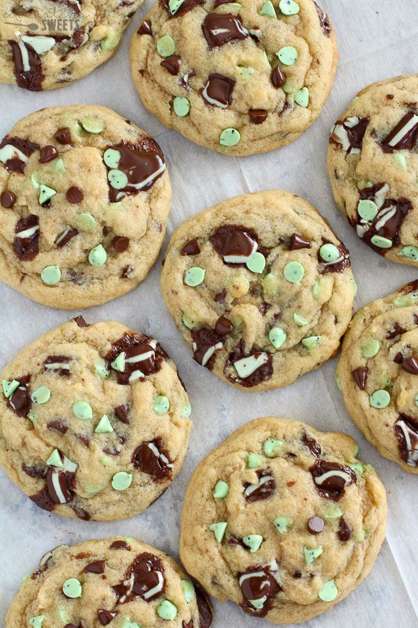 Mint Chocolate Chip Cookies on a baking sheet.