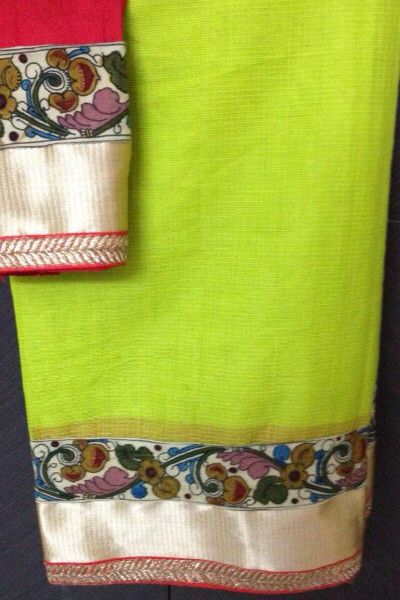 Kota saree with kalamkari patterned border