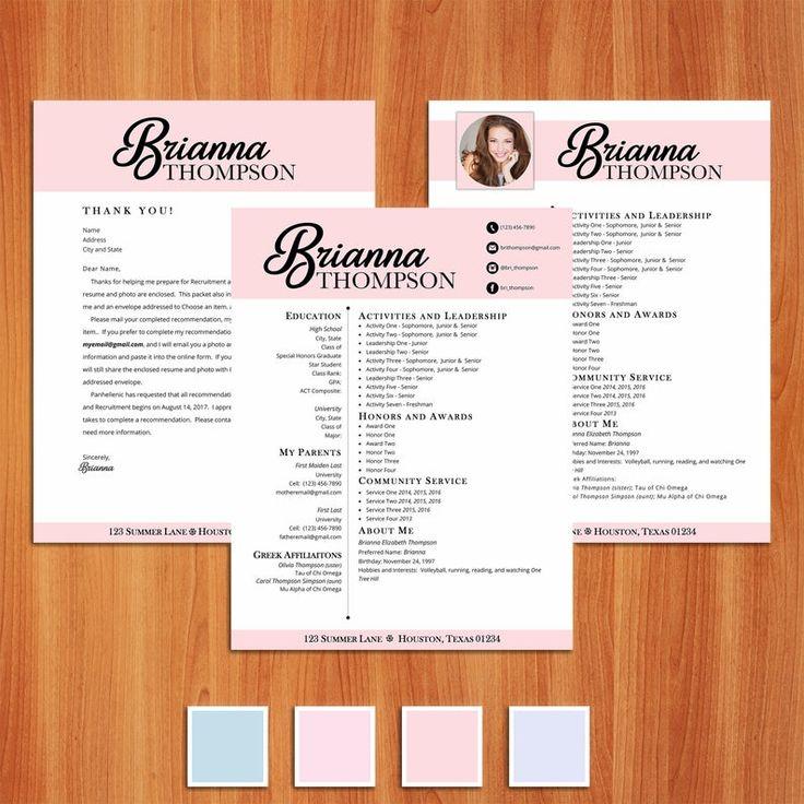 Brianna digital resume sorority recruitment packet with