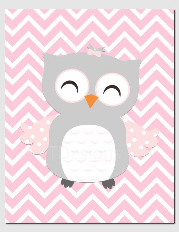 Owl Nursery Art Pink Gray Owls Initial Monogram Baby Girl
