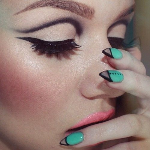 Mod eyes, bold lashes, bright lips/cheeks and trendy nails!