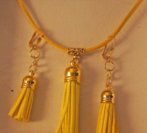 Deep YellowBohemian Tassel Pendant Set by InspiredDesigns4YOU, $50.00
