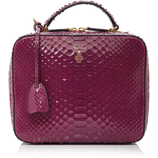 Python Laura Bag   Moda Operandi (134,785 THB) ❤ liked on Polyvore featuring bags, handbags, snake print purse, purple handbags, snake print handbags, python purse and double zip purse