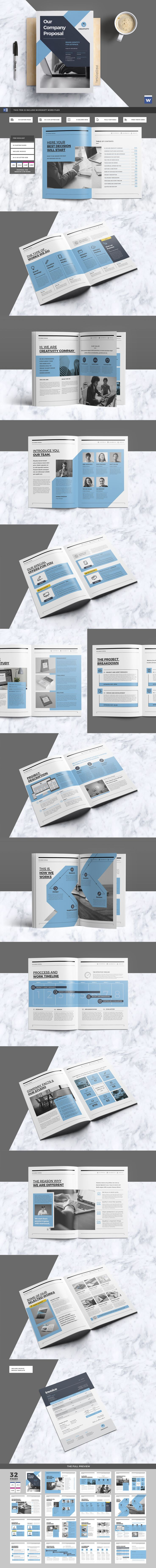 proposal template for word%0A Clean  u     Professional Proposal    Pages Template InDesign INDD