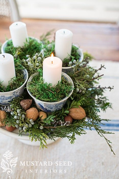 teacup & pedestal advent wreath   miss mustard seed