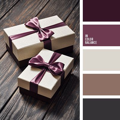 Dark chocolate, taupe color, tint, cocoa and milk, silver-beige color and eggplant. Universal color combination for packing gifts: a light box, tied with a ribbon color of eggplant or plum, can be presented with a stylish accessory, fashion sweater, luxurious dress. This color scheme is well suited for the design of a solid exterior of a country house, because deep warm colors are perfectly combined with natural materials. - Dream Homes