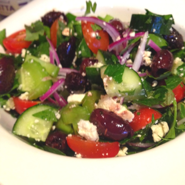 Homemade Greek salad.