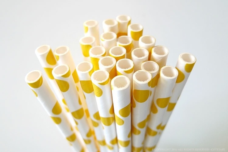 """Polka Dots Yellow Paper Straws - great for yellow themed weddings, birthdays and anytime you need to add some colors and love to your party or get together!Pack of 25 - Yellow polka dot Pattern Paper drinking traws7 3/4"""" long Food safe & FDA Approved Earth Friendly & Bio-degradable Thickest Strongest Most Durable Made in USA $4.00"""