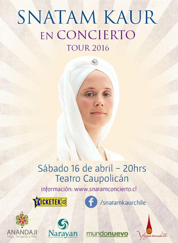 Concierto de Snatam Kaur en Chile 2016 - Cantos Sagrados. http://www.comunidadkundalini.com/eventos/snatam-kaur-concierto-cantos-sagrados/