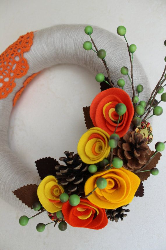 "Orange Fall Yar Wreath - Yellow, Pine Cones, Brown 12"" - note the cute fabric button flowers"