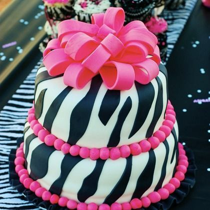 Super cute pink zebra cake! Popular for birthdays or baby showers. It matches perfectly Qualatex balloons zebra print! Find a decorator here: http://www.qualatex.com/balloons/findapro.php