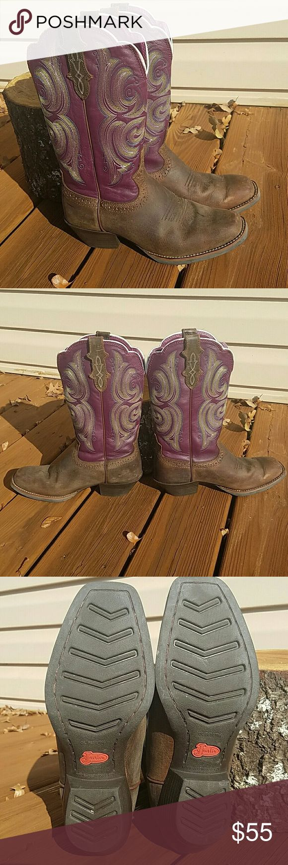 Purple Justin cowboy boots Purple and brown Justin leather cowboy boots, style L2567, with lime green and blue embroidery on the shaft. Brown/tan distressed Buffalo with a wide square toe.Very good condition, maybe worn three to five times. Got these for my daughter for Christmas last year, and she never wore them. Justin Boots Shoes Heeled Boots