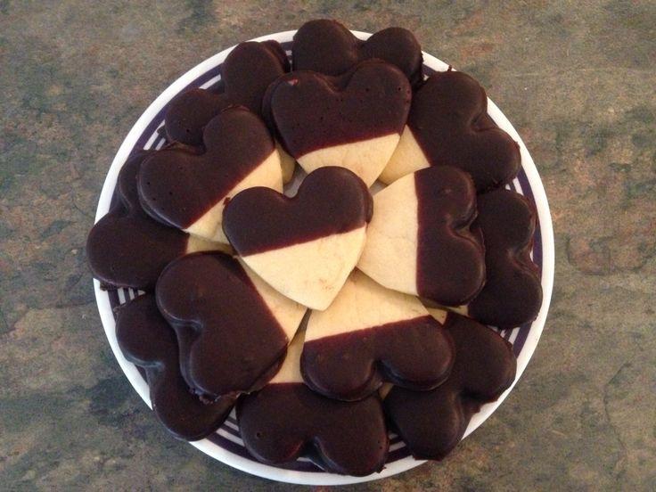 Chocolate dipped vanilla heart cookies!