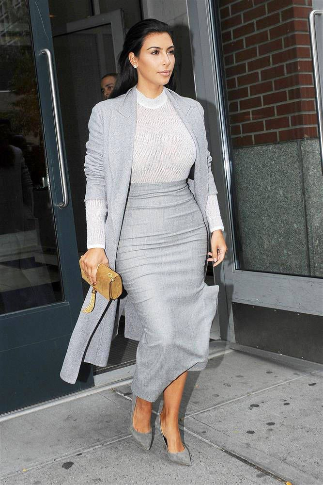Where to get Kim Kardashian West's great grey coat, here: