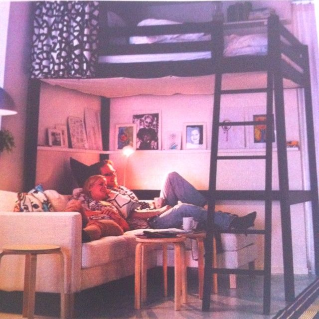with sofa underneath   loft beds/small apartment design