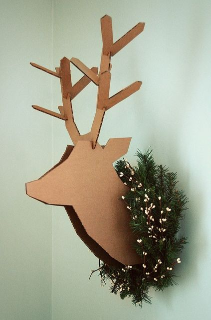 Cardboard deer head!   I WILL make one of these one day.