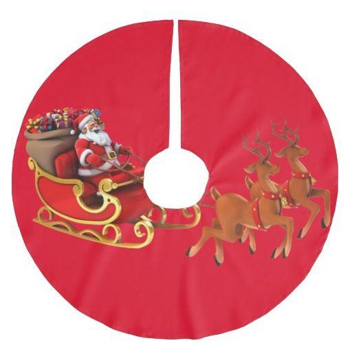 "Saia para ávore de Natal ""Papai Noel / Trenó"" Saia Para Árvore De Natal De Poliéster"