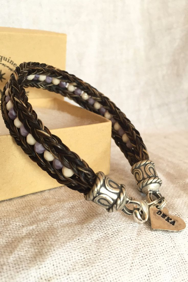 Horse Hair Bracelet with Two Braids & Czech Glass Beads
