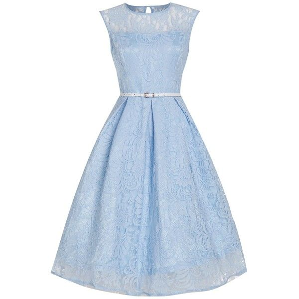 'Aleena' Baby Blue Prom / Bridesmaid Dress ($65) ❤ liked on Polyvore featuring dresses, blue, blue dress, floral skater skirt, floral print bridesmaid dresses, blue floral dress and lace dress