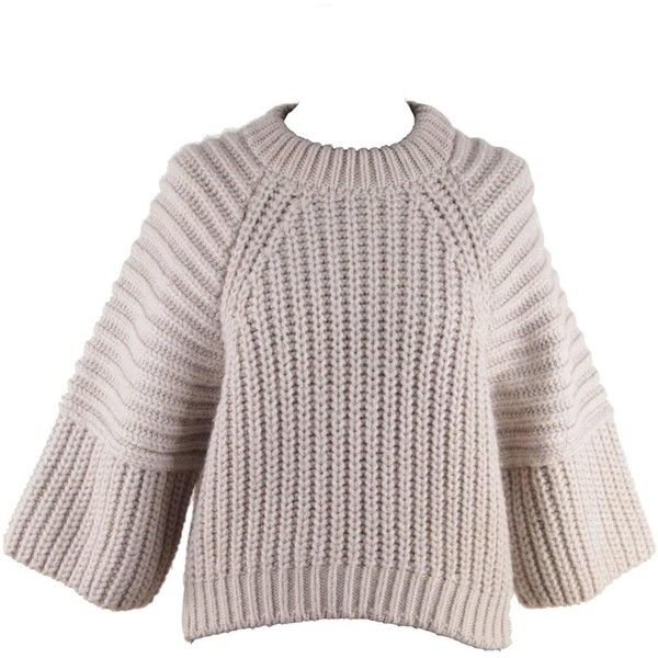Pre-owned BALENCIAGA Beige Gray CHUNKY KNIT JUMPER Cropped Sleeves... ($603) ❤ liked on Polyvore featuring tops, sweaters, pullovers, pullover sweater, gray sweater, grey sweater, grey pullover sweater and beige pullover sweater