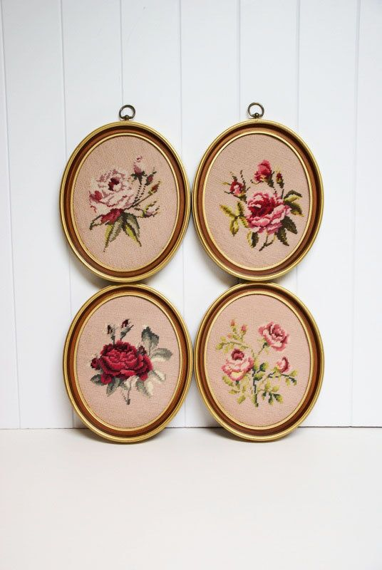 Vintage Needlepoint - Shabby Chic Roses in Oval Frames by speckleddog on Etsy -Valentine's Day Gift. $80.00, via Etsy.