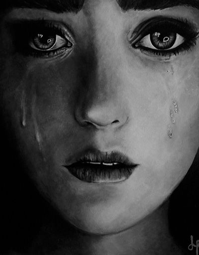 acrylic painting of an emotive portrait a soft face of tears acryclic painting soft