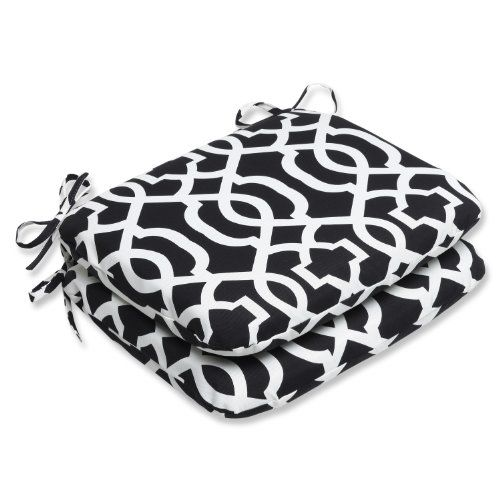 Patio Make Over  Pillow Perfect Outdoor New Geo Rounded Corners Seat Cushion, Black/White, Set of 2 *** This is an Amazon Associate's Pin. Locate the item on the website simply by clicking the image.