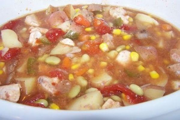 Burgoo - book dinner - a year down yonder   Ernie's Kentucky Burgoo (done in a slow cooker)