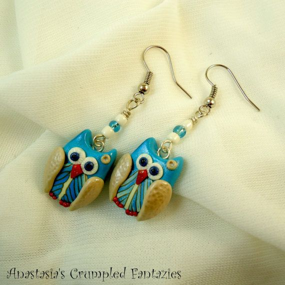 Blue beige feather owl earrings Handmade by CrumpledFantazies