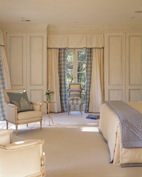 .: Mary Douglas, Bedrooms Window, Blue Bedrooms, White Bedrooms, Window Treatments, Douglas Drysdal, Buffalo Check, Paintings Cupboards, Cream Bedrooms