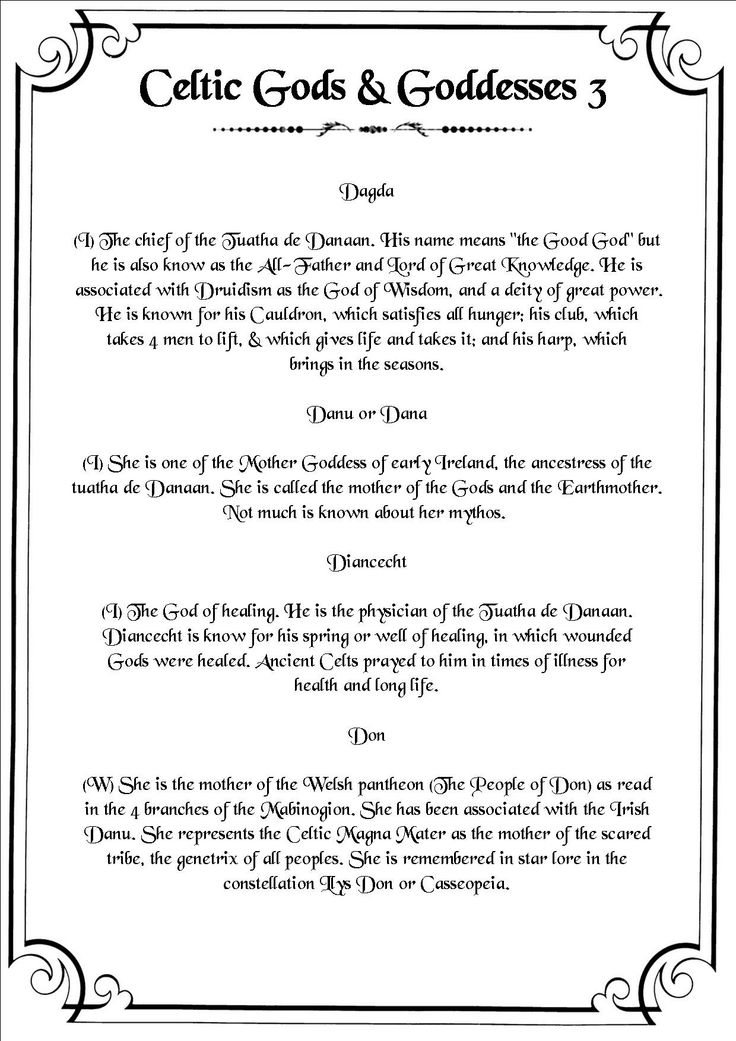Book of Shadows:  #BOS Celtic Deities 3 page.