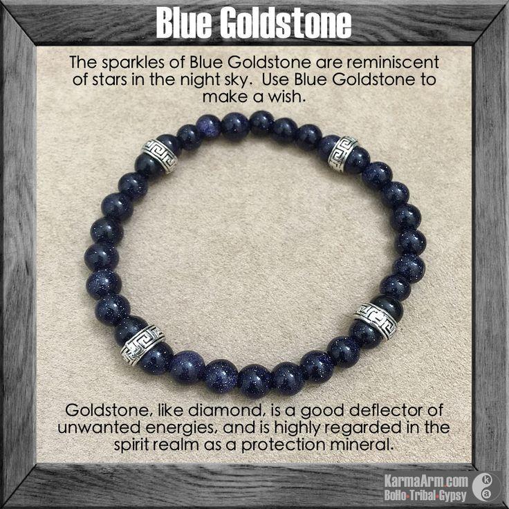 gemstone mala yoga bracelet - MAKE A WISH: Blue Goldstone Yoga Mala Bead Bracelet - Karma Arm. - 1