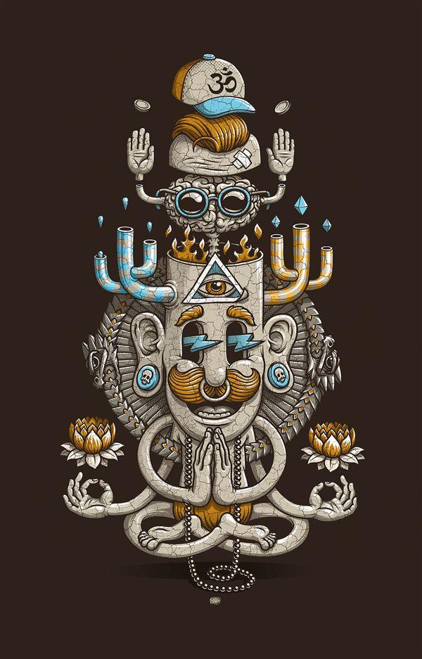 Yoga-men | illustration by Oleg Gert, via Behance