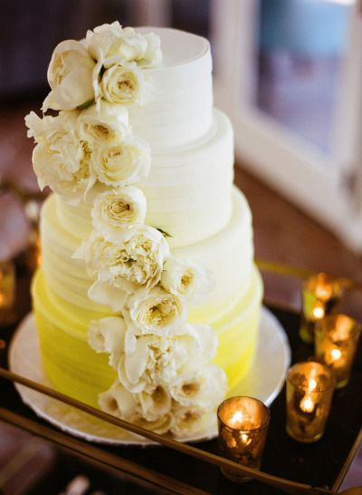 #yellow #ombre #cake by http://www.exquisitedesserts.net, Photography by leilabrewsterphotography.com  Read more - http://www.stylemepretty.com/2013/09/24/palm-springs-estate-wedding-from-leila-brewster/
