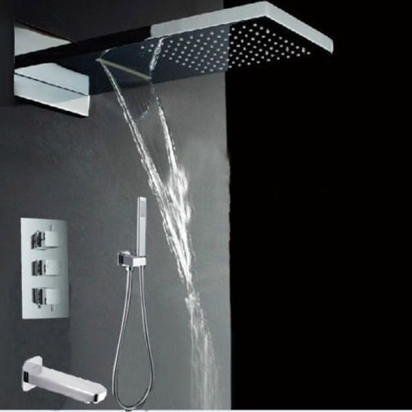 Thermostatic Rain Waterfall Bathroom Shower Faucet Set Rainfall