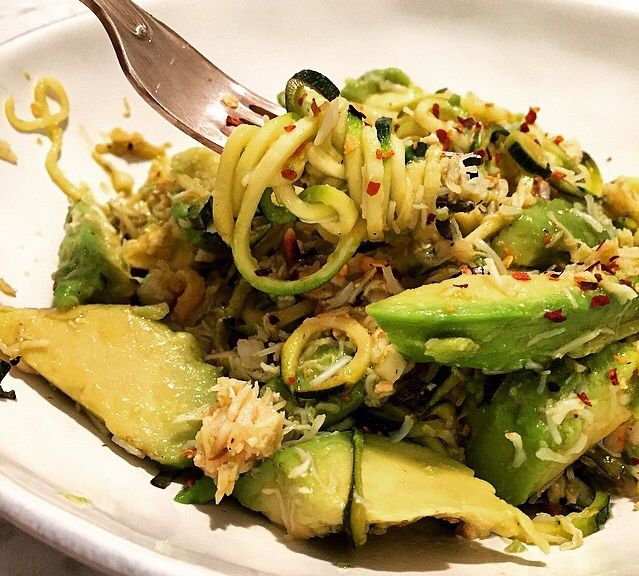 Amelia Freer recipe: Courgetti Crab Avocado Garlic Chilli flakes Olive oil Lime juice