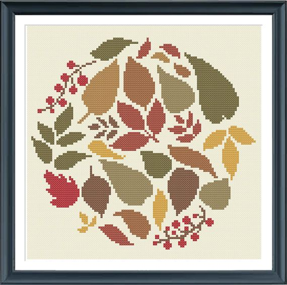 cross stitch pattern leaves nature fall PDF pattern by Happinesst